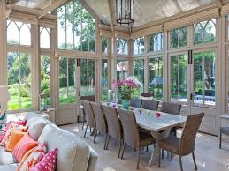 chic vintage sunroom dining design with rustic white wooden dining
