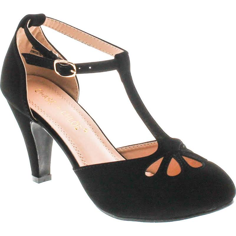 Chase & Chloe Kimmy-36 Teardrop Cut Out T-Strap Mid Heel Dress Pumps,Black Nubuck,5.5