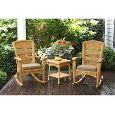 Wicker Resin Patio Furniture - 3pc outdoor porch rocker set w 2 amber wicker resin rocking