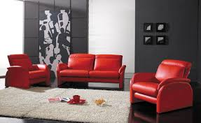 Black Leather Couch Living Room Ideas Living Room Astonishing Airy Red Leather Sofa And Round Ottoman