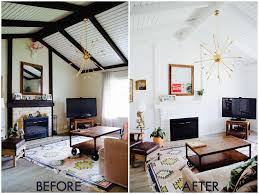 Exposed Beam Ceiling Living Room by The Living Room Beach House Makeover Before And After