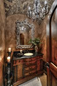glamorous powder room with brick groin vault ceiling in paradise