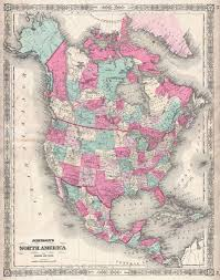 United States And Canada Map by File 1864 Johnson Map Of North America Canada United States