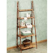 scenic vintage style bamboo ladder shelf for storage also grey