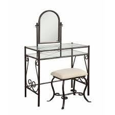 Linon Home Decor Vanity Set With Butterfly Bench Black Linon Home Decor Clarisse 2 Piece Dark Metal Vanity Set 58950mtl