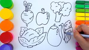 learn colors for children with coloring pages vegetables how to