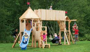 Cedar Playsets Frolic 414 Wooden Swing Set And Outdoor Playset Cedarworks Playsets