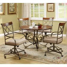 Metal Dining Room Chair Furniture Brown Metal Dining Room Chairs With Casters And Wheels