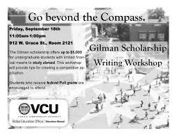 Gilman Scholarship Honors College Gilman Writing Workshop Flyer      Gilman Scholarship
