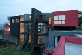 world of architecture mansions dream home called lam house by picture of modern lam house with grey and red facade as seen from the roof of
