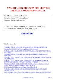 yamaha jog rr cs50z service repair workshop manual pdf by ging