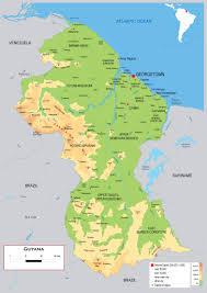 Map Of The South America by Large Detailed Physical Map Of Guyana With Roads Cities And