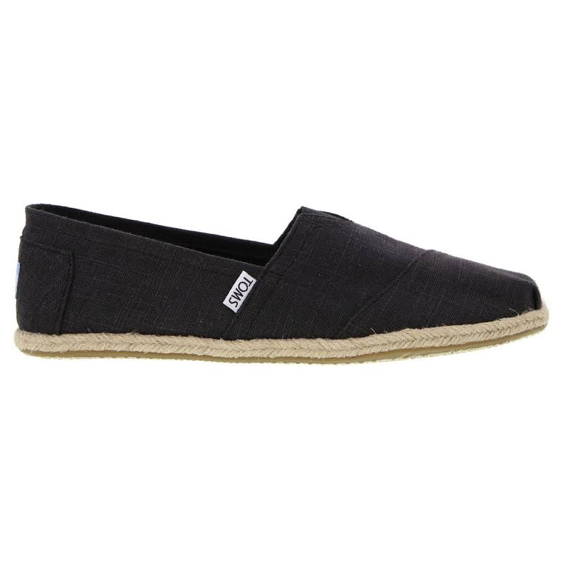 Toms Alpargata Linen Black Ankle-High Fabric Flat Shoes