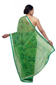 sudarshan colorful designer saree green mys25 mn synthetic