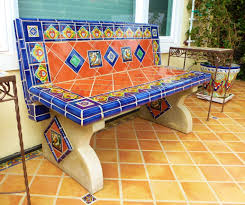 bench using mexican tiles by kristiblackdesigns com kristi black