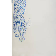 Blue Leopard Print by Roberto Cavalli Kids Girls White T Shirt With Glittery Blue