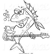 vector coloring page of a black and white rocker fish by toonaday