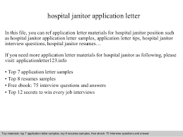 Janitor Sample Resume by Hospital Janitor Application Letter
