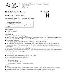 Aqa english literature a  coursework mark scheme