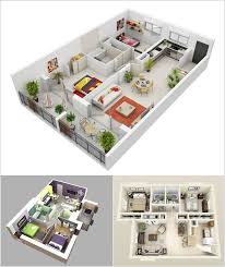 Awesome Two Bedroom Apartment D Floor Plans Decor - Apartment house plans designs