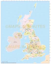 Map Of Ireland And England Digital Uk Simple County Administrative Map 5 000 000 Scale