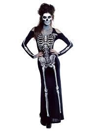 Kids Skeleton Halloween Costumes Women U0027s Bone Appetit Skeleton Long Dress Costume