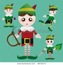 Four Christmas Elves Busily Preparing for Christmas Day – Vector ... picturesof.net