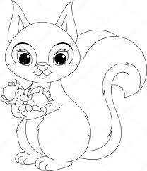 squirrel coloring u2014 stock vector malyaka 49693737