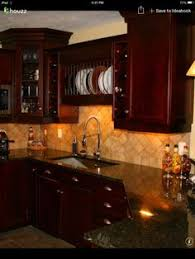 Kitchen Backsplash Cherry Cabinets by Kitchens Matching Travertine Kitchen Floor And Backsplash And