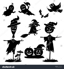 halloween cartoon set black silhouette on stock vector 112521245