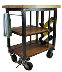 Kitchen Carts On Wheels by Napa Kitchen Cart Made From Reclaimed Butcher Block And Steel