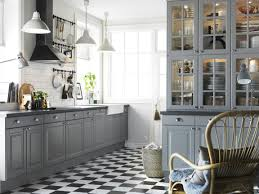 kitchen style gray glass cabinet doors checkered floors fantastic