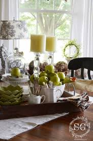 Dining Room Table Decor Ideas by Kitchen Table Spring Centerpiece On A Galvanized Steel Tray