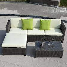 Patio Furniture Set 5 Pc Wicker Rattan Sofa Cushioned Set Outdoor Furniture Sets