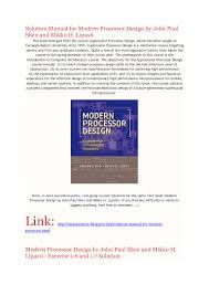 full solution manual for modern processor design by john paul shen an u2026