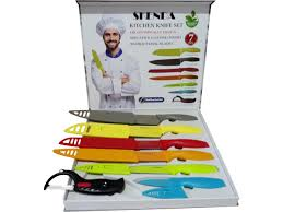skenda 13 pieces kitchen knives set 6 knifes with 6 sheaths and a