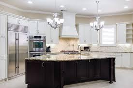 dark espresso kitchen cabinets with white island mixed up light