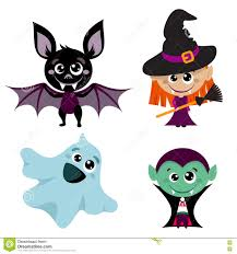 vector characters and icons for halloween in cartoon style stock