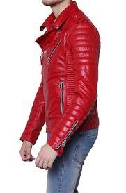 men s moto jacket padded sleeve red leather motorcycle jacket