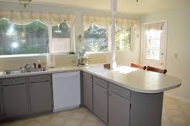 kitchen grey laminate kitchen cabinet with yellow countertop