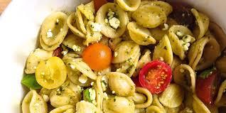Pasta Salad Ingredients Best Pesto Feta And Cherry Tomato Pasta Salad Recipe How To