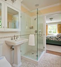 elegant glass small shower room with rectangle white sink and