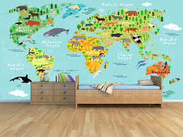 Kids World Map Children U0027s Murals Archives Grafix Wall Art