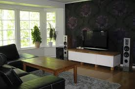 Simple Living Room Simple Living Room Tv With Floral Wallpaper Home Furniture