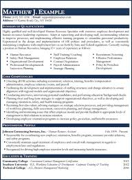 Resume Examples Human Resources