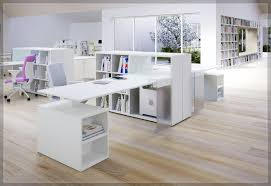 Modern White Office Desks Furniture Brown Wooden Topped Corner Desk Which Furnished With