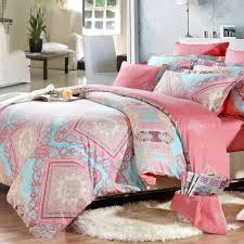 Full Size Bed In A Bag For Girls by Light Blue Pink And Coral Red Indian Tribal Print Full Queen Size