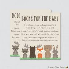 Reunion Cards Invitation Woodland Baby Shower Bring A Book Instead Of A Card Invitation