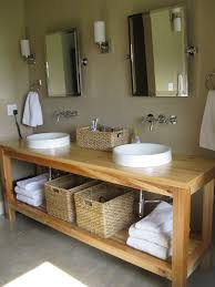Bathroom Sink Ideas For Small Bathroom Simple Round Sinks And Wicker Baskets On Minimalist Wooden