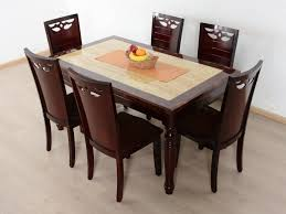Buy Rubber Wood Furniture Bangalore Devin Marble Top 6 Seater Dining Set Buy And Sell Used Furniture